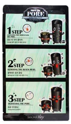 Secret Key, Black Out Pore 3-Step Nose Pack Очищающая система против черных точек, 7 гр charcoal nose pack black 10 pcs