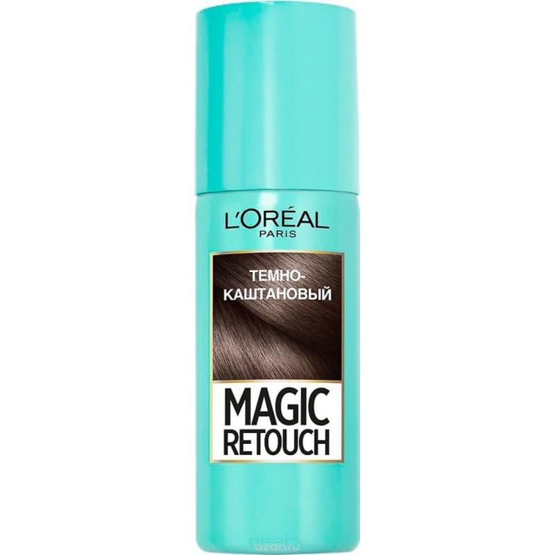 L'Oreal, Краска спрей в баллончиках Magic Retouch, 75 мл (7 оттенков) 2 Темный каштан краска для авто в баллончиках
