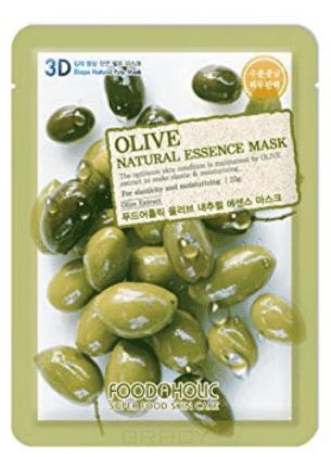 FoodaHolic, Natural Essence Mask Olive Тканевая маска для лица 3D с экстрактом оливы, 23 мл lebelage egg natural mask тканевая маска для лица с экстрактом яйца 23 мл
