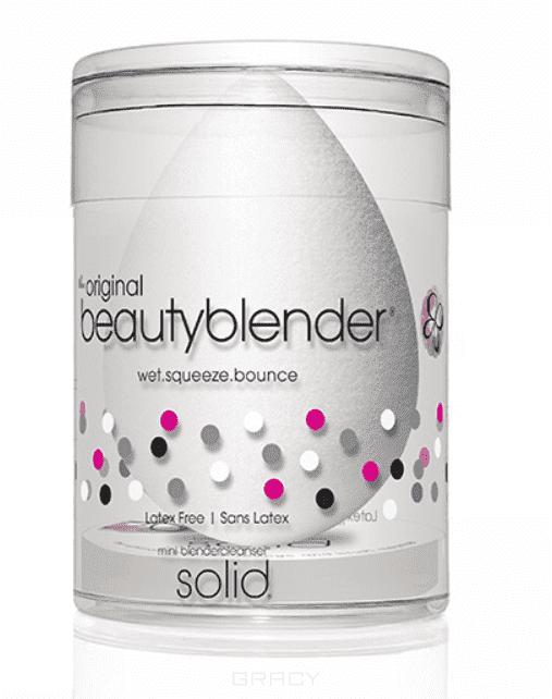 BeautyBlender, Набор косметический Beautyblender Pure + Blendercleanser Solid Mini Спонж белый + мини-мыло