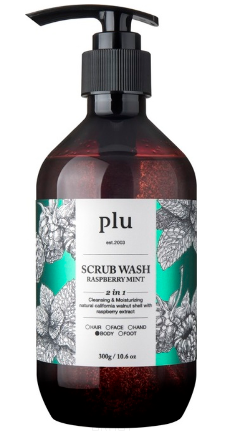 Купить PLU, Скраб-гель для душа, малина и мята Scrub Wash Raspberry Mint, 300 г