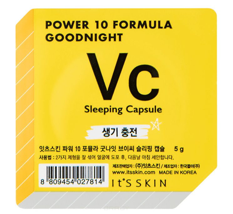 Power 10 Formula Goodnight Sleeping Capsule VC Ночная маска-капсула тонизирующая Пауэр 10 Формула Гуднайт Итс Скин, 5 г power 10 formula goodnight sleeping capsule wh ночная маска капсула выравнивающая тон пауэр 10 формула гуднайт итс скин 5 г