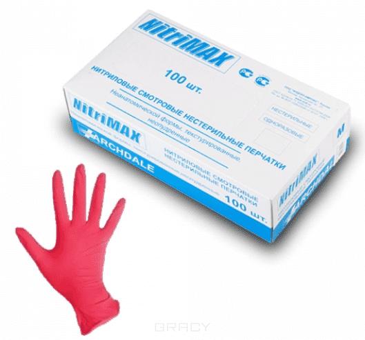 Archdale, Перчатки нитриловые неопудренные, NitriMax красные, 100 шт (4 размера), 100 шт, размер L archdale перчатки латексные гладкие опудренные diamax 100 шт 3 размера размер l большой 100 шт