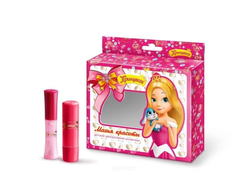 Принцесса, Набор №3 Магия красоты Бальзам для губ Нежная защита + Блеск для губ Лиловый, 3,8 гр + 5 мл принцесса бальзам для губ мягкое увлажнение 3 8 г