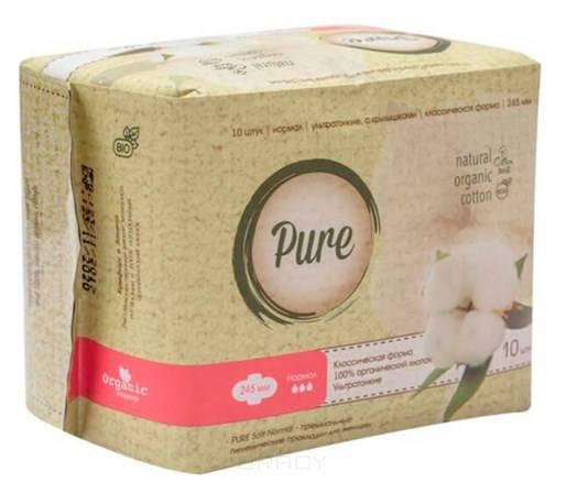 Купить Pure, Прокладки гигиенические женские Soft Normal, 24, 5 см, 10 шт