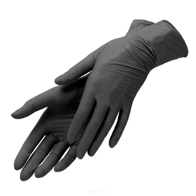 Planet Nails, Перчатки виниловые черные Планет Нейлс, 100 шт/уп,  /, M