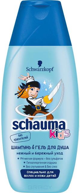 Schauma, Детский Шампунь &amp; Гель для душа для мальчиков, 225 млGreenism - эко-серия для ухода<br><br>