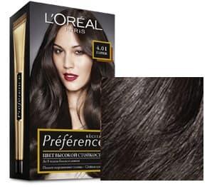 LOreal, Краска для волос Preference (27 оттенков), 270 мл 4.01 Париж глубокий каштанОкрашивание волос Casting, Preference, Prodigy, Excellence<br><br>
