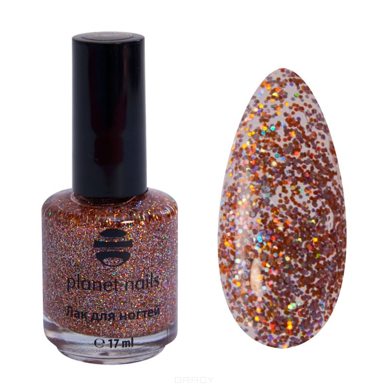 Planet Nails, Глиттер лак для ногтей, 17 мл (21 оттенок) Глиттер лак для ногтей, 17 млЦветные лаки для ногтей<br><br>