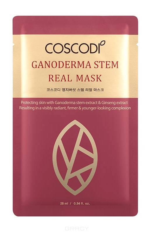 Купить Coscodi, Тканевая маска Омоложение с ганодермой и женьшенем Ganoderma Stem Real Mask