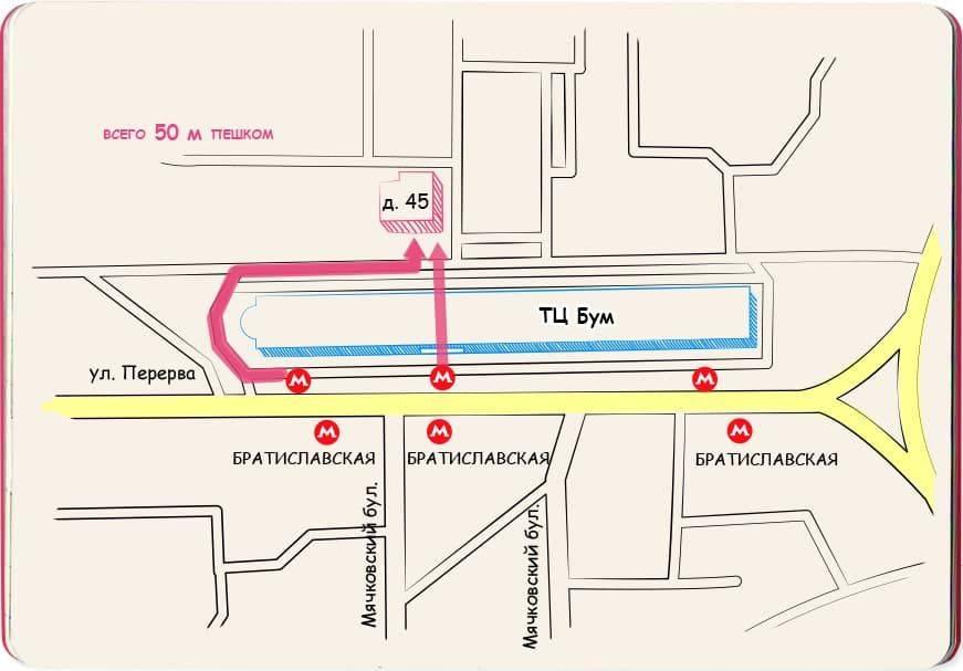 Братиславская Схема проезда