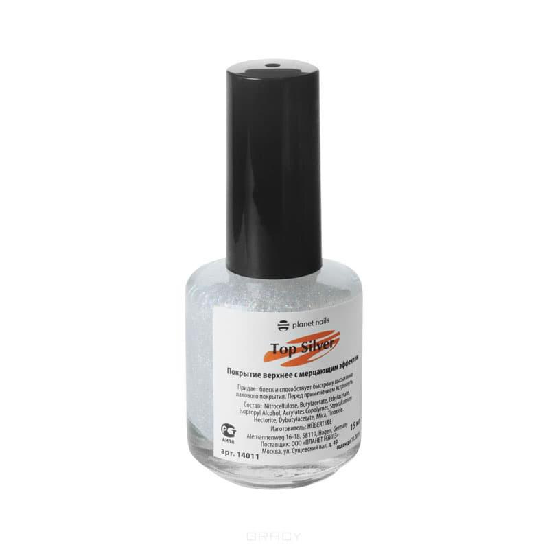 Planet Nails Топ-лак Top Silver, 17 мл гель лаки planet nails гель краска без липкого слоя planet nails paint gel неоново желтая 5г