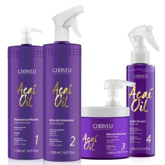 Cadiveu Professional Набор Acai oil для проведения процедуры коллагенирования, 500/500/500/200 мл cadiveu professional гибкая маска acai oil flexible mask 500 мл
