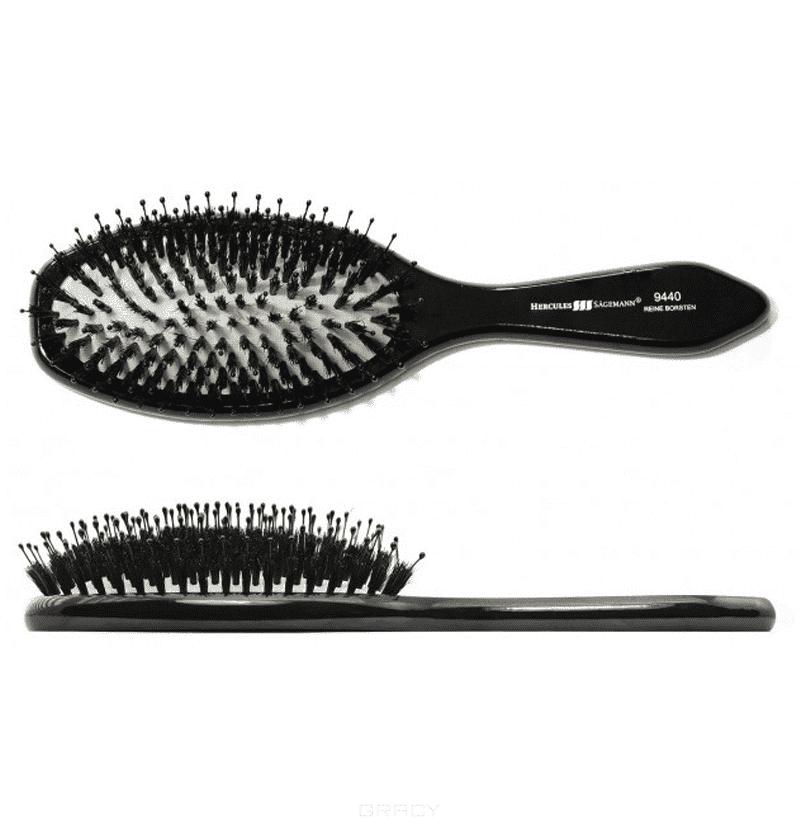 Hercules Щетка массажная-натуральная щетина+нейлон чёрное дерево 9440 щетка для волос riffi с нейлоновыми зубцами и щетиной
