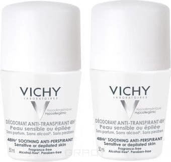 Vichy Дезодорант для чувствительной кожи 48ч дуопак, 50 мл, Дезодорант для чувствительной кожи 48ч дуопак, 50 мл, 50 мл дезодорант ролл 48 часов для женщин lavilin 65 мл hlavin