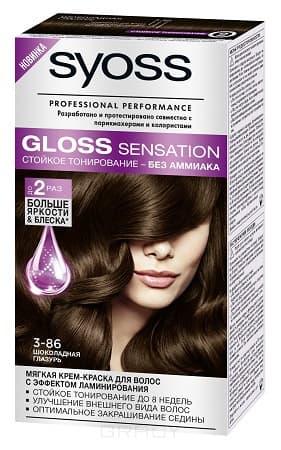 Syoss, Крем-краска для волос Gloss Sensation без аммиака, 115 мл (20 оттенков) 3-86 Шоколадная глазурь