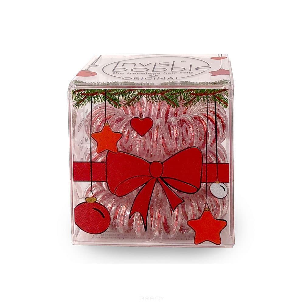 Invisibobble Набор резинок для волос ORIGINAL Christmas Glitter, прозрачный/красный, 3 шт/уп сопутствующие товары invisibobble power princess of the hearts набор 3 шт
