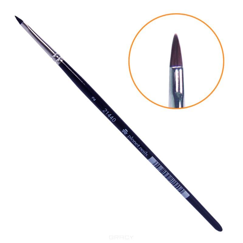 Planet Nails Кисть для дизайна овальная, короткая №2, Кисть для дизайна овальная, короткая №2, 1 шт кисть для дизайна ногтей где