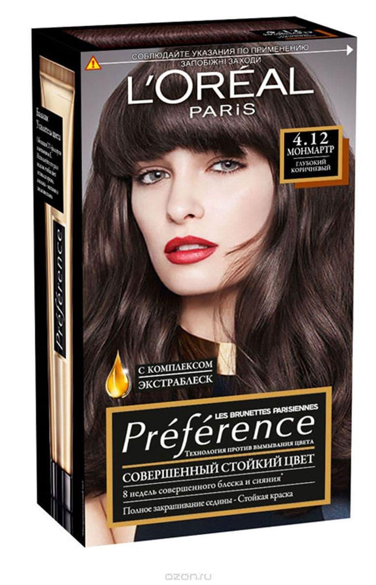 LOreal, Краска для волос Preference (27 оттенков), 270 мл 4.12 Монмартр, с комплексом экстраблеск