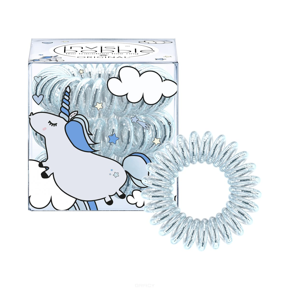 Invisibobble, Резинка для волос прозрачная с голубым Original Unicorn Henry, (3 шт.)