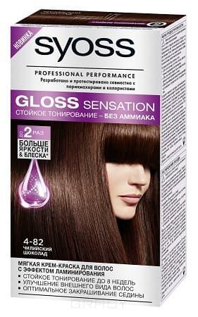 Syoss, Крем-краска для волос Gloss Sensation без аммиака, 115 мл (20 оттенков) 4-82 Чилийский шоколад