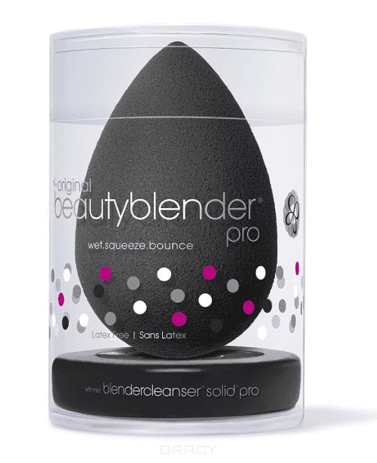 BeautyBlender Набор косметический Beautyblender Pro + Blendercleanser Solid Pro Mini Спонж черный + мини-мыло Pro спонжи и аппликаторы beautyblender спонж beautyblender royal цвет royal variant hex name 913e73