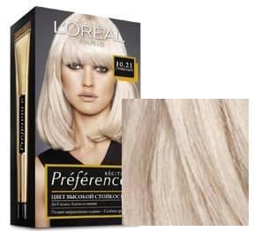 LOreal, Краска для волос Preference (27 оттенков), 270 мл 10.21 Стокгольм светло-светло русый перламутровый осветляющий