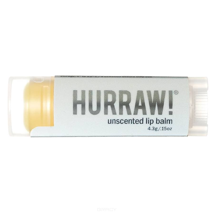 Hurraw Бальзам для губ Hurraw! Unscented Lip Balm (без аромата), Бальзам для губ Hurraw! Unscented Lip Balm (без аромата), 1 шт hurraw бальзам для губ grapefruit lip balm 4 3 г