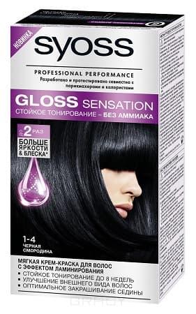 Syoss, Крем-краска для волос Gloss Sensation без аммиака, 115 мл (20 оттенков) 1-4 Черная смородина