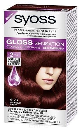 Syoss, Крем-краска для волос Gloss Sensation без аммиака, 115 мл (20 оттенков) 4-23 Вишневый брауни