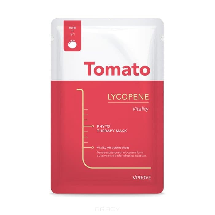 Купить Vprove - Тканевая маска Фитотерапия с томатом, увлажняющая Phyto Therapy Mask Sheet Tomato Lycopene Vitality, 20 г