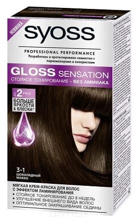 Syoss, Крем-краска для волос Gloss Sensation без аммиака, 115 мл (20 оттенков) 3-1 Шоколадный мокко