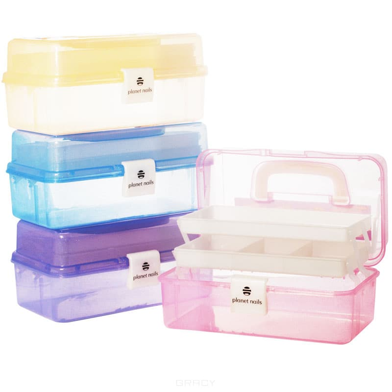 Planet Nails Чемодан пластиковый маленький 280х165х130 мм (8 цветов), Чемодан пластиковый маленький 280х165х130 мм (8 цветов), 1 шт, Зеленый чемодан samsonite чемодан 55 см lite biz