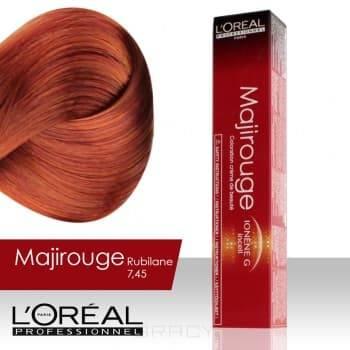 LOreal Professionnel, Крем-краска Majirouge, 50 мл (7 оттенков) 7.45 блондин медный красное дерево