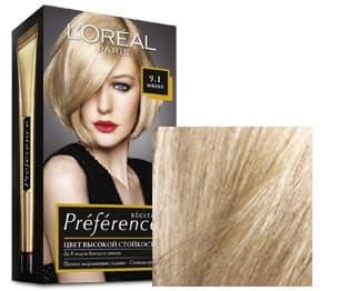 LOreal, Краска для волос Preference (27 оттенков), 270 мл 9.1 Викинг очень светло-русый пепельный