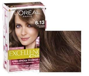 LOreal, Краска для волос Excellence Creme (32 оттенка), 270 мл 6.13 Темно-русый бежевый