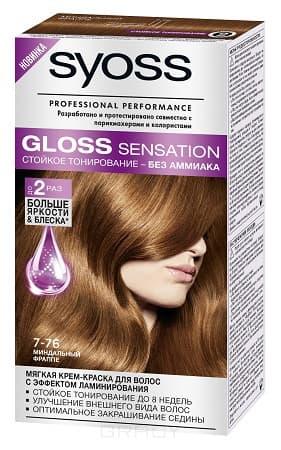 Syoss, Крем-краска для волос Gloss Sensation без аммиака, 115 мл (20 оттенков) 7-76 Миндальный фраппе