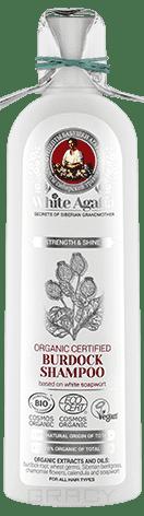 Рецепты бабушки Агафьи, Шампунь органический репейный Укрепление и блеск White Agafia, 280 мл
