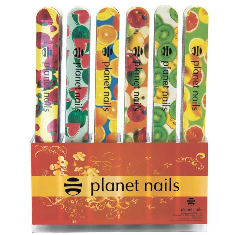 Planet Nails, Набор пилок стандартные - фрукты 240/180 (72 шт)