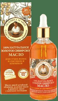 Рецепты бабушки Агафьи, Масло для волос 100% золотое сибирское натуральное для сухих и секущихся кончиков, 100 мл