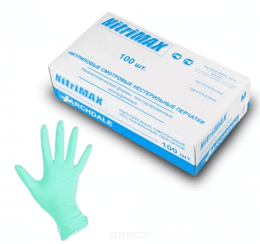 Archdale Перчатки нитриловые неопудренные, NitriMax зеленые, 100 шт (4 размера), 100 шт, размер L перчатки нитриловые голубые nitrimax размер l 100 шт