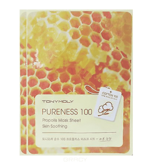 Tony Moly Успокаивающая маска с прополисом Pureness 100 Propolis Mask Sheet Skin Soothing, 21 гр тканевая маска tony moly pureness 100 shea butter mask sheet объем 21 мл
