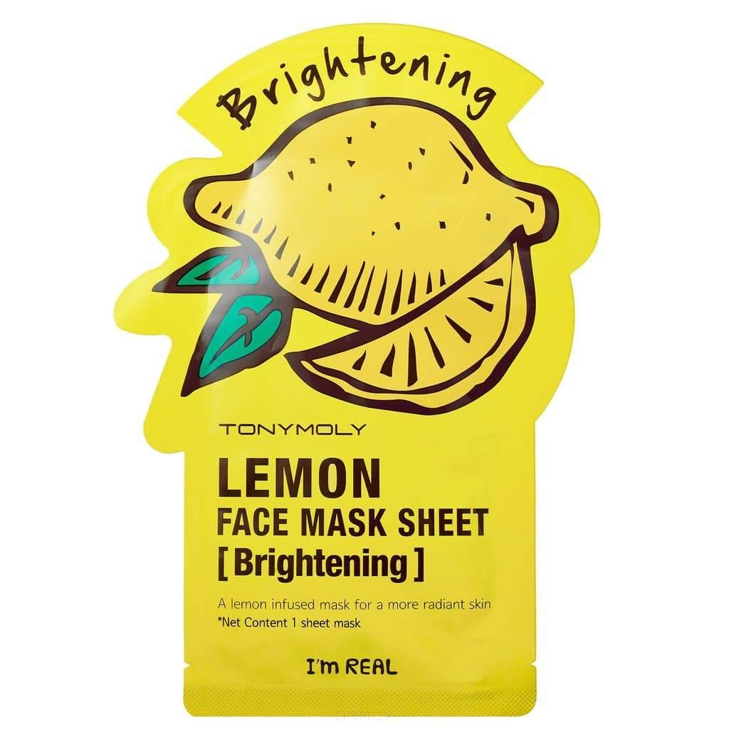 Tony Moly, Тканевая осветляющая маска для лица с экстрактом лимона Im Real Lemon Mask Sheet Brightening, 21 мл