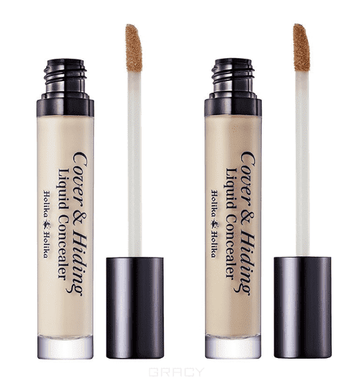 Holika Holika Консилер жидкий Кавер энд Хайдинг Cover & Hiding Liquid Concealer, 5 мл (2 тона), 5 мл, тон 02, натуральный бежевый sr039 newborn baby clothes bebe baby girls and boys clothes christmas red and white party dress hat santa claus hat sliders