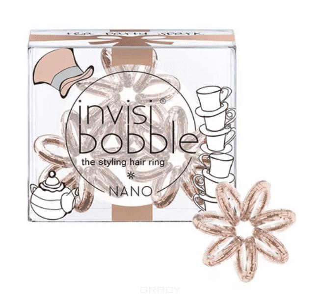 Invisibobble Резинка для волос NANO Tea Party Spark сияющий бронзовый, 3 шт invisibobble nano tea party spark резинка браслет для волос nano tea party spark резинка браслет для волос