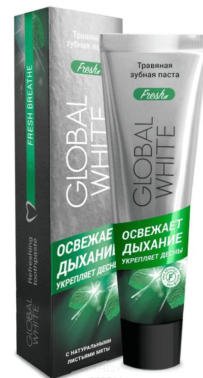 Global White Зубная паста Травяная освежающая дыхание, 100 мл, Зубная паста Травяная освежающая дыхание, 100 мл, 100 мл organic people паста зубная zoom 3 white 100 мл