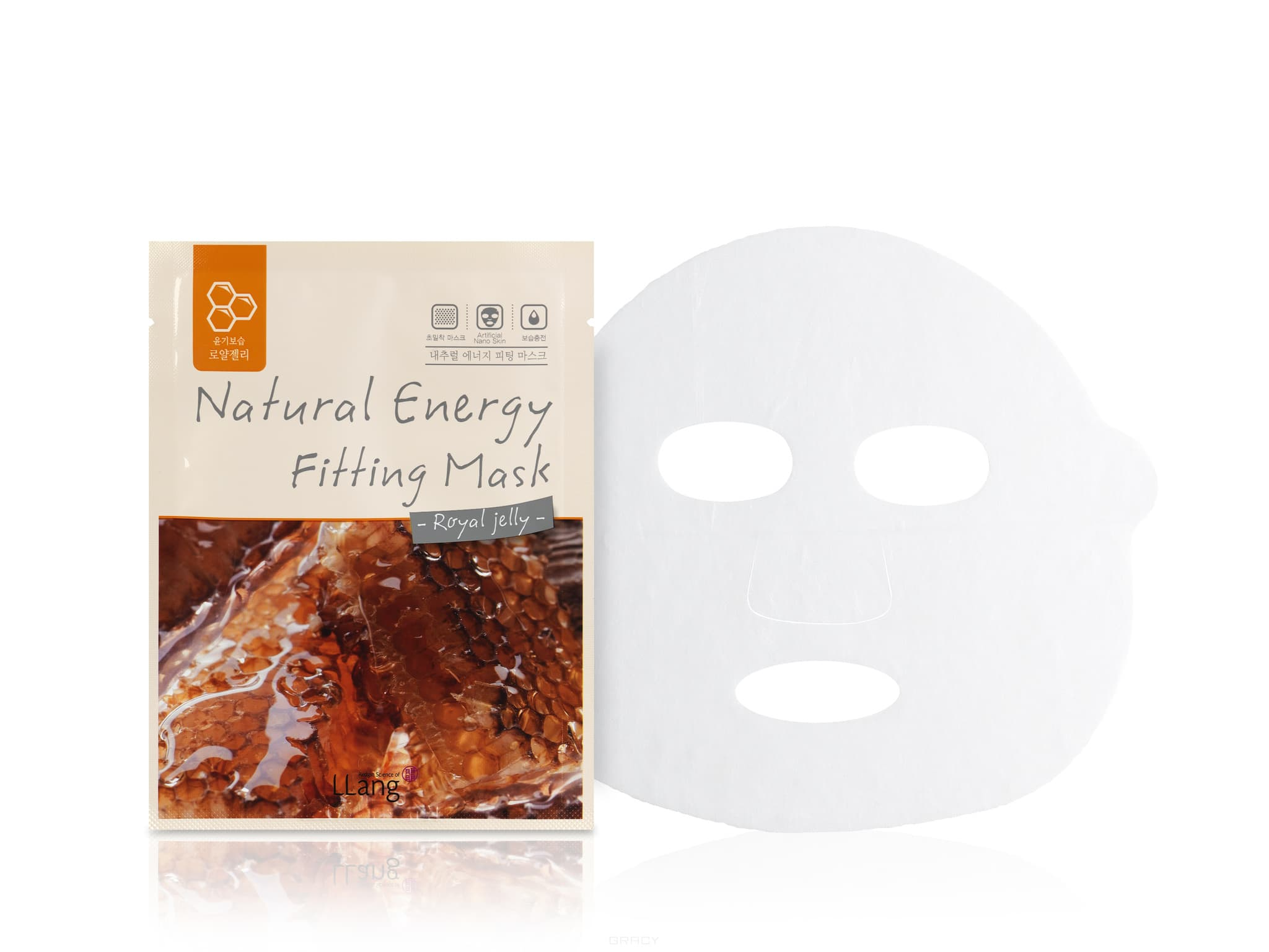 LLang Тканевая маска с экстрактом пчелиного маточного молочка Natural Energy Fitting Mask (Royal jelly), 20 мл cordyceps sinensis 50 1 extract 50