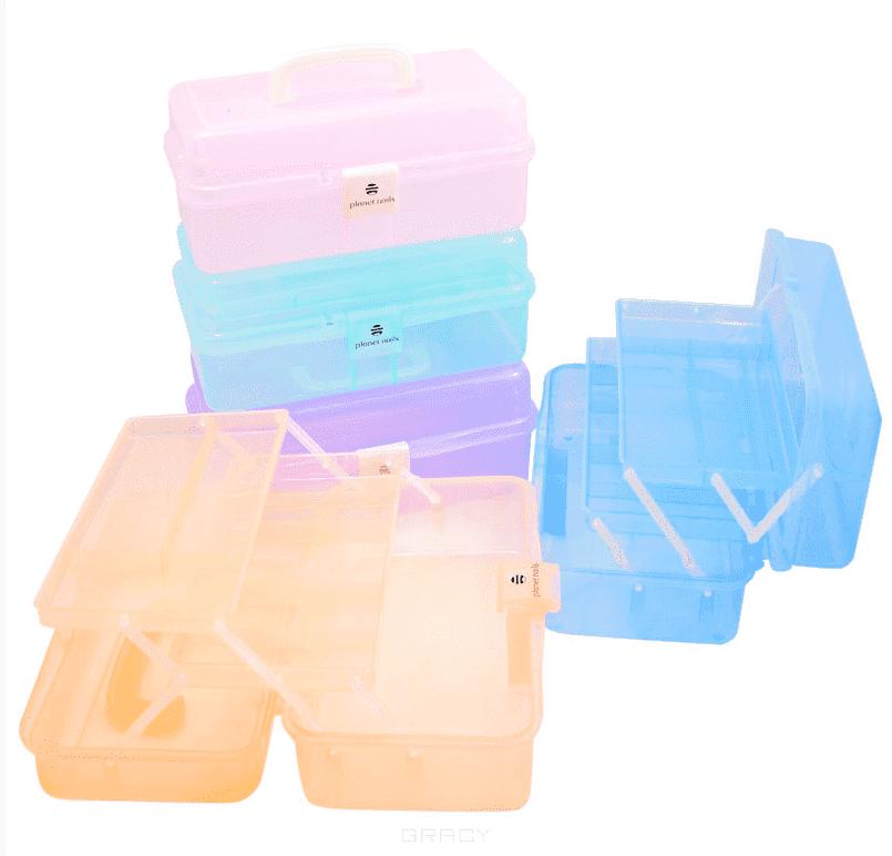 Planet Nails Чемодан пластиковый средний 330х200х148 мм (8 цветов), Чемодан пластиковый средний 330х200х148 мм (8 цветов), 1 шт, Фиолетовый цены