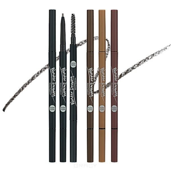 Holika Holika Карандаш для бровей Wonder Drawing Skinny Eye Brow, 0.05 гр (4 тона), 02 темно-коричневый Dark Brown, 0.05 гр окрашивание бровей holika holika wonder drawing cushion tint brow 02 цвет 02 dark brown variant hex name 714600