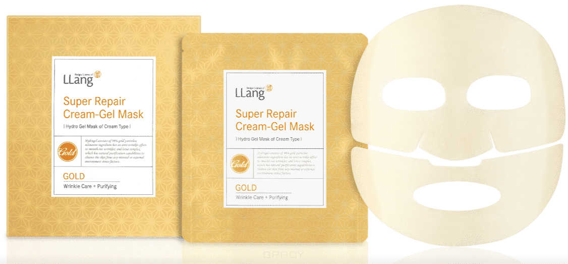 LLang Гидрогелевая восстанавливающая маска с экстрактом золота Super Repair Cream-gel Mask (Gold), 25 гр*5